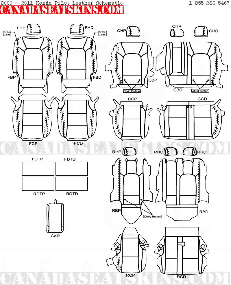 2009 2015 Honda Pilot Dealer Pak Leather Upholstery Kits Design Diagram 2011 Interior Schematic