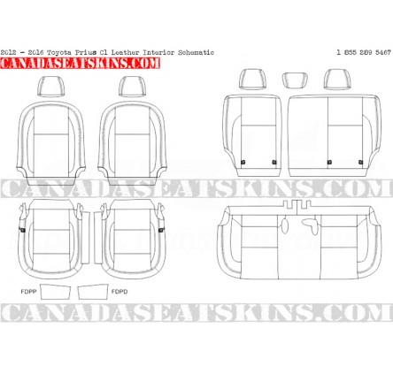 2012 - 2017 toyota prius c1 leather interior schematic