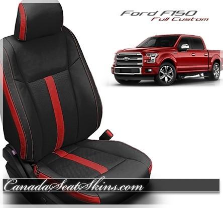 2015 - 2019 F150 Custom Katzkin Black and Red Leather Seats