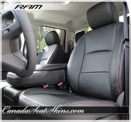 DODGE RAM 2009-2016 BLACK//RED LEATHER-LIKE CUSTOM MADE FIT FRONT SEAT COVER