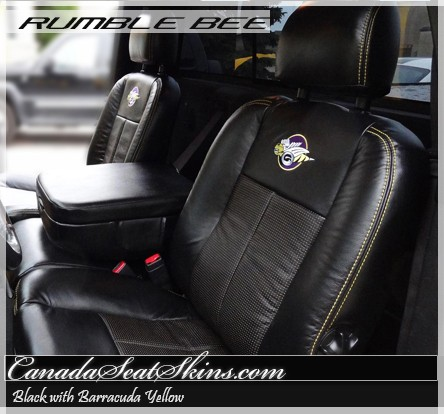 2004 - 2005 dodge ram rumble bee leather upholstery  the canada seat skins company